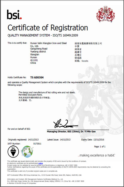 TS 16949 Quality System Certificate